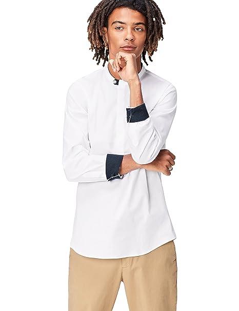 FIND Camisa con Cuello de Tira y Corte Estándar para Hombre  Amazon.es  Ropa  y accesorios b94ea41d58c