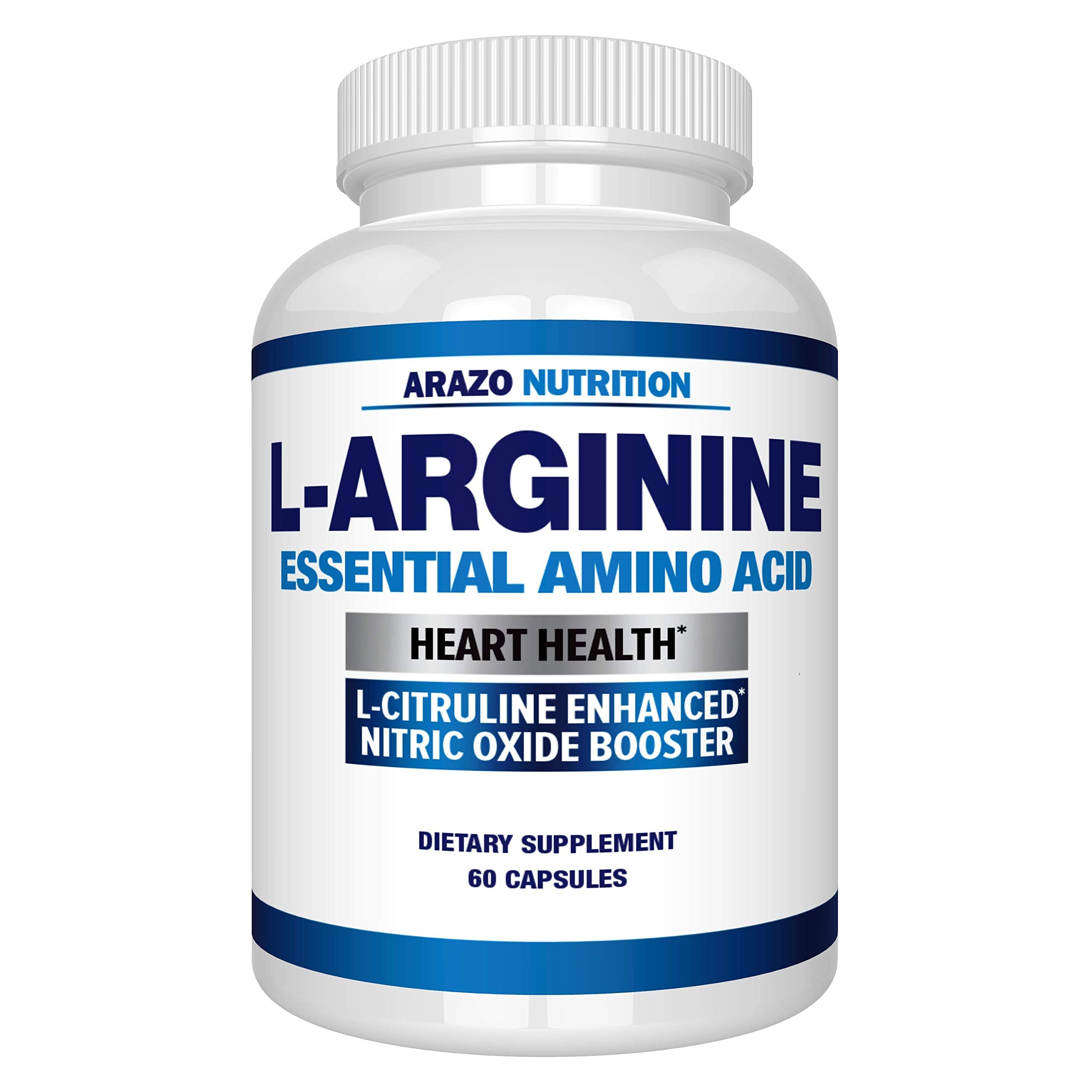 Premium L Arginine - 1340mg Nitric Oxide Booster with L-Citrulline & Essential Amino Acids for Heart and Muscle Gain - Nitric Oxide Boost Supplement for Endurance and Energy - 60 Capsules