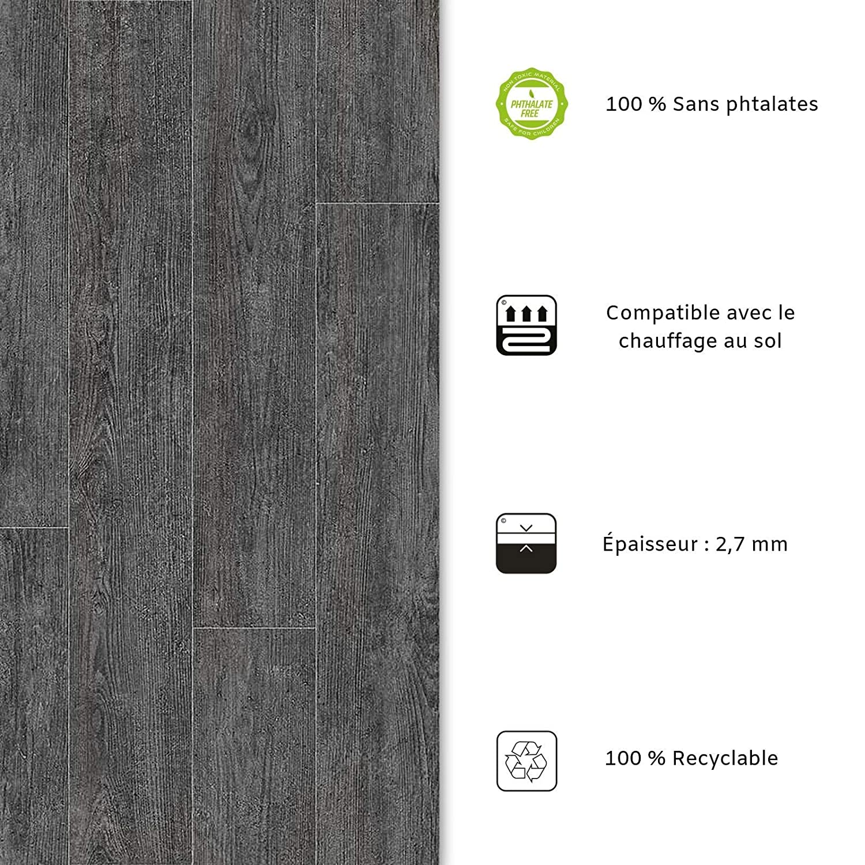 casa pura Rev/êtement Sol PVC Stickers Effet Bois Film Vinyle Pour Meuble /& Sol Sol PVC Rouleau Antid/érapant /& 100/% /Écologique Aspect Ch/êne Gris/é - 200x300 cm