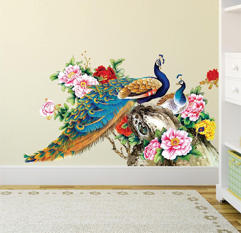 9a0b1afa59b Buy Pixel Print PVC Vinyl Peacock Birds Nature Wall Sticker for Living  Room
