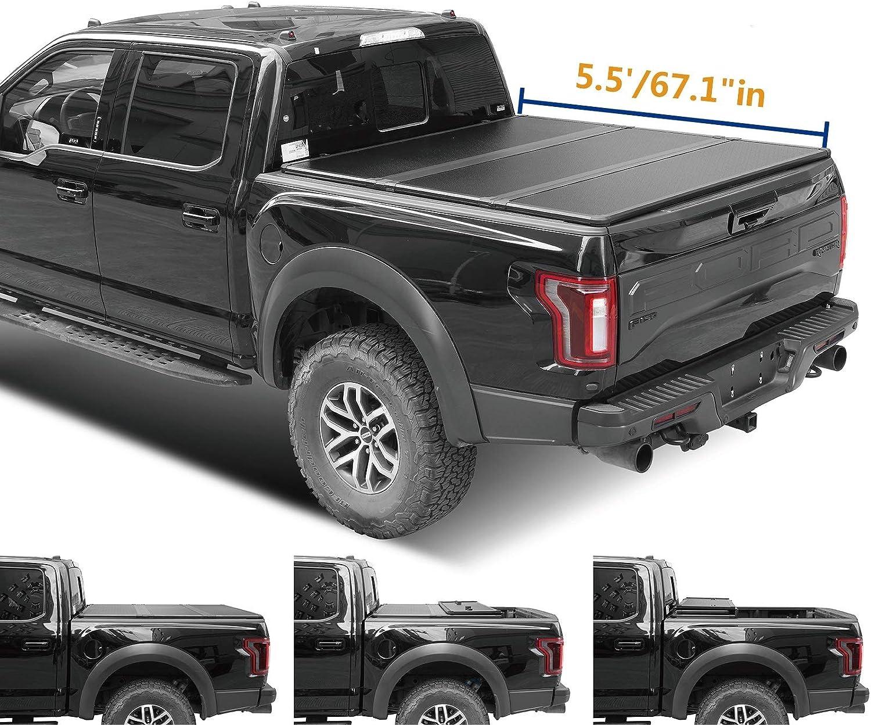 Amazon Com Viksee 5 5ft 67 1 Hard Tri Fold Tonneau Cover For 2015 2020 F 150 W Led Lamp Automotive