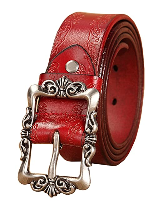 e8eeac8fa9e3 Womens Real Leather Belt Waist Belt for Jeans Multiple Colors and All Sizes  (Red)