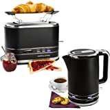 Andrew James Lumiglo Black Kettle and Toast Set, 3000w Kettle and 2 Slice Toaster with Warming Rack, Breakfast Duo Set