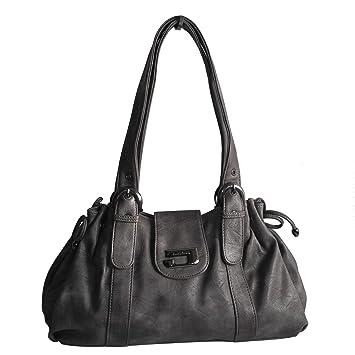 Schwarz Damentasche Leder Handtasche Modern Shopper Umhängetasche Schultertasche