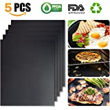 WINSEE Grill Mat Set of 5 Non-Stick BBQ Grill Baking Mats Cooking Mats FDA-Approved PFOA Free Reusable and Easy to Clean 15.75 X 13 Inch Black