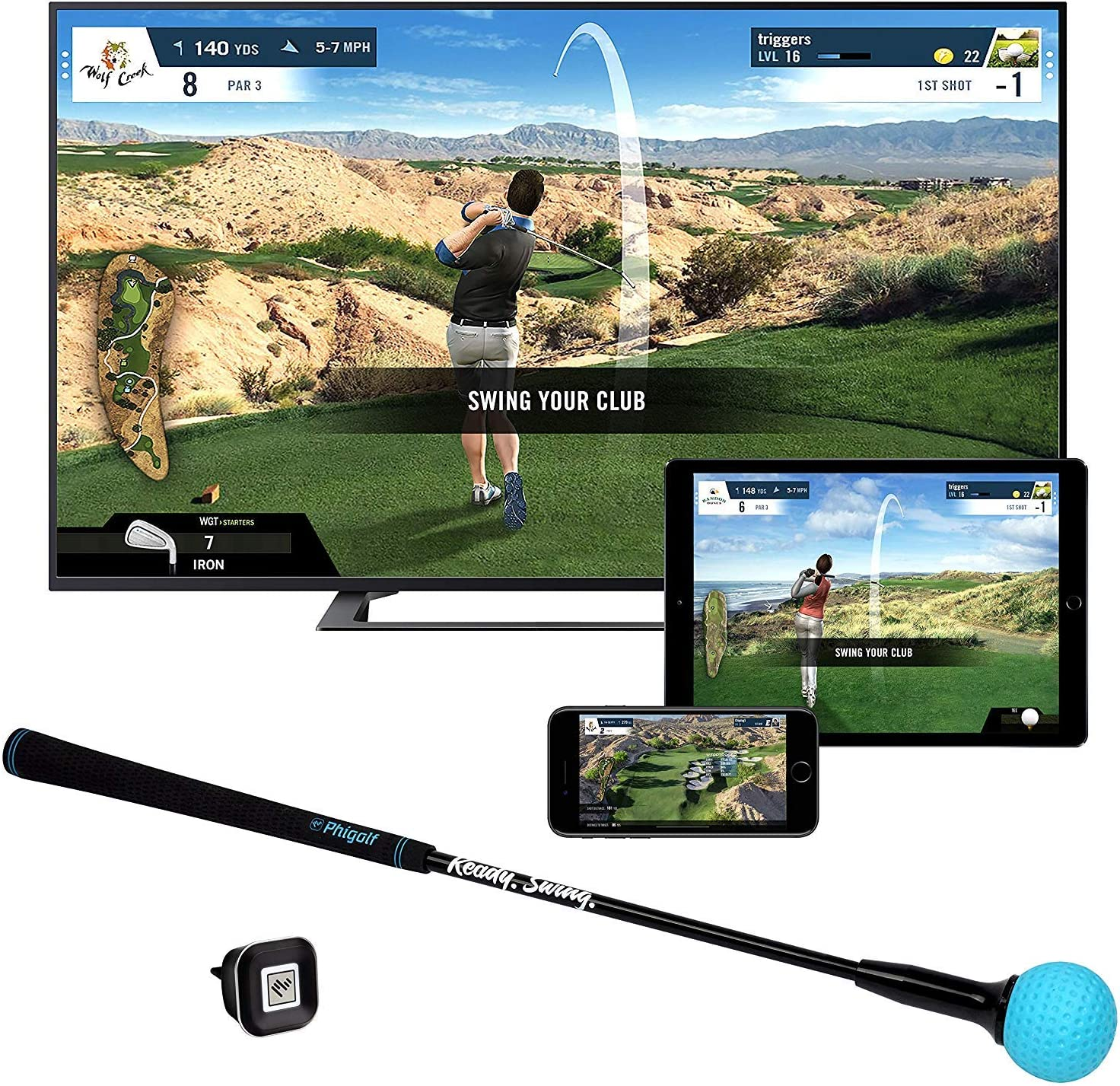 Phigolf Mobile and Home Smart Golf Game Simulator with Swing Stick – WGT Edition