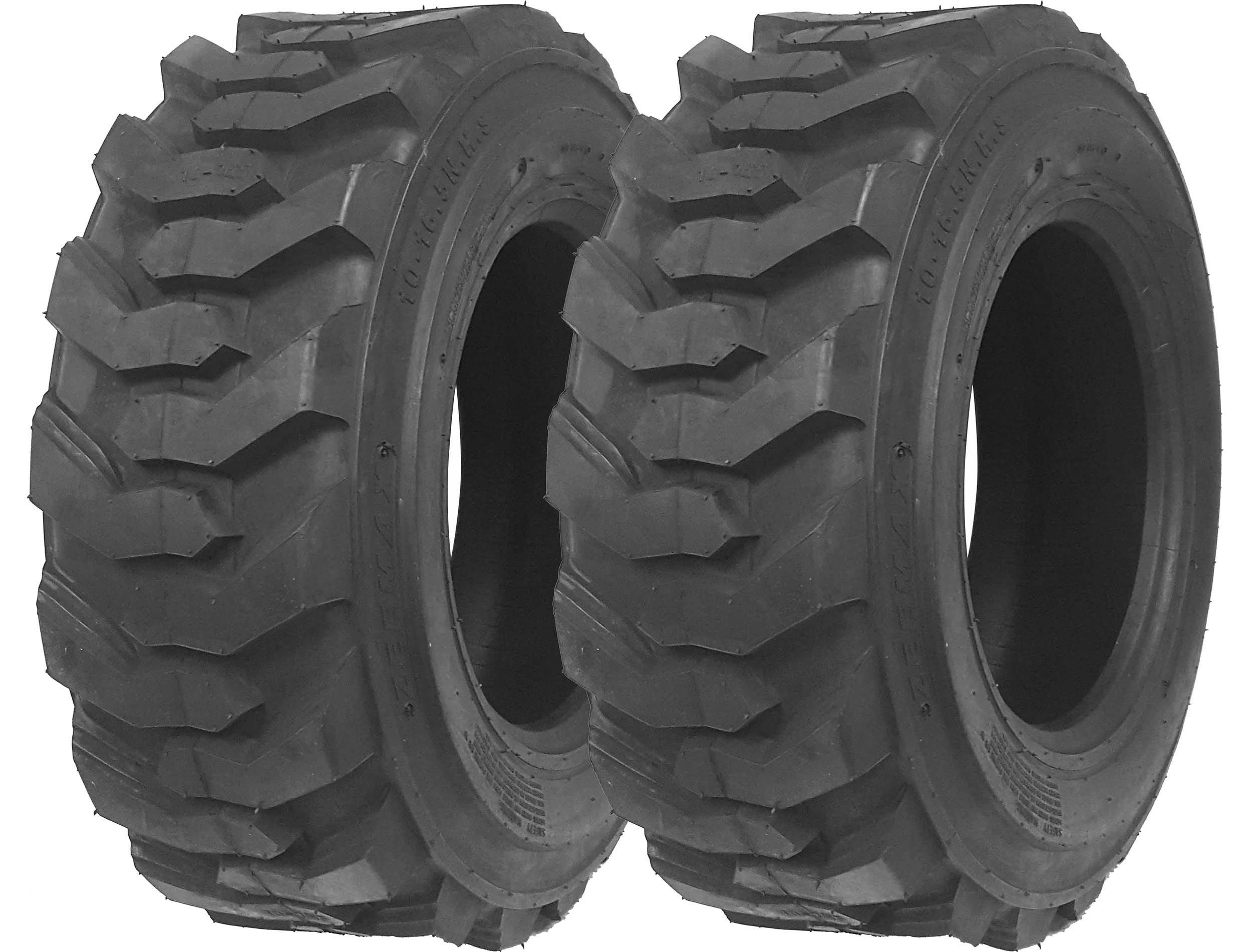 Set of 2 New ZEEMAX Heavy Duty 12-16.5/12PR G2 Skid Steer Tires for Bobcat w/ Rim Guard