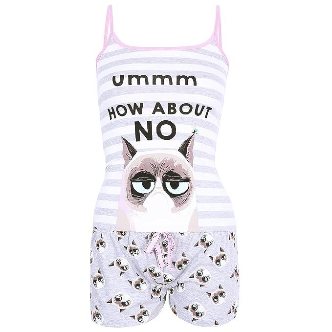 Grumpy Cat El Pijama Gris con Rayas Small