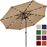 Best Choice Products 10FT Deluxe Solar LED Lighted Patio Umbrella w/ Tilt Adjustment (Tan)