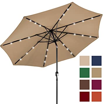 Best Choice Products 10u0027 Deluxe Solar LED Lighted Patio Umbrella With Tilt  Adjustment Tan