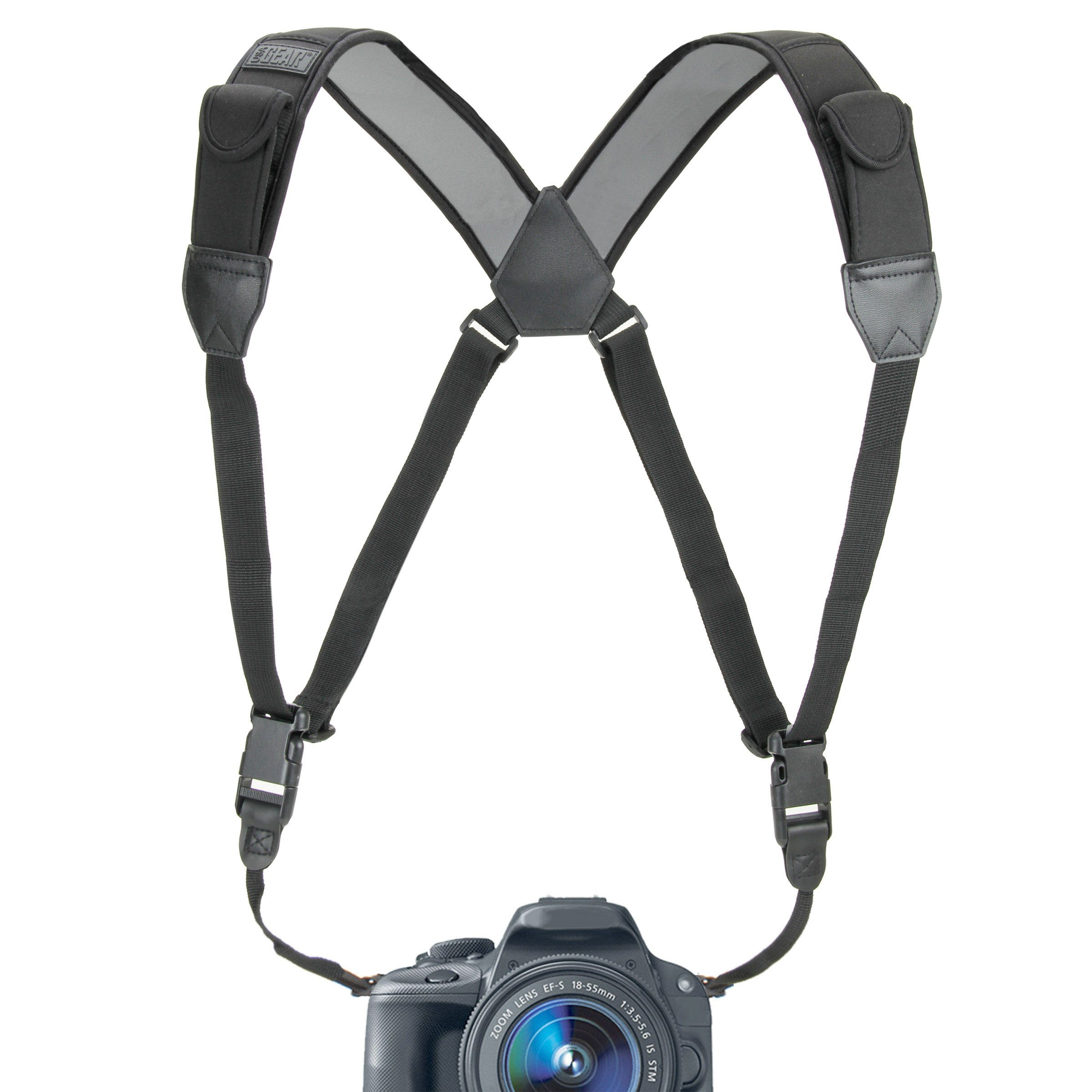 Camera Strap Chest Harness with Comfortable Neoprene and Accessory Pockets by USA GEAR - Works with Canon, Nikon, Fujifilm, Sony and More Bincoulars, DSLR, Point & Shoot, Mirrorless Cameras