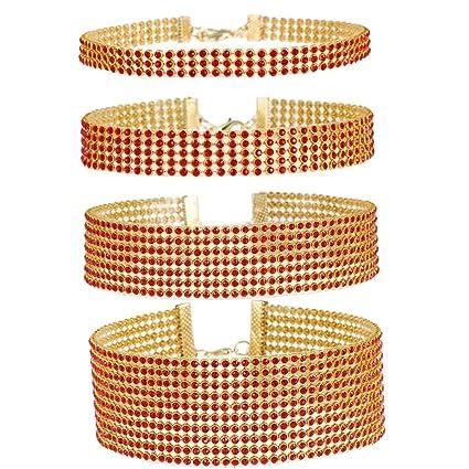 f56b50cb4cc38 Amazon.com: Tpocean Red Gold Rhinestone Crystal Choker Necklace Set ...