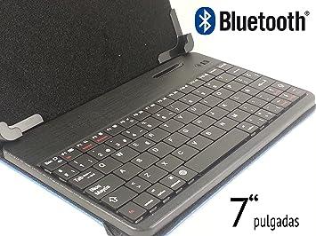 """MTK Funda con teclado bluetooth para tablet de 7"""" con letra Ñ Color Negro"""