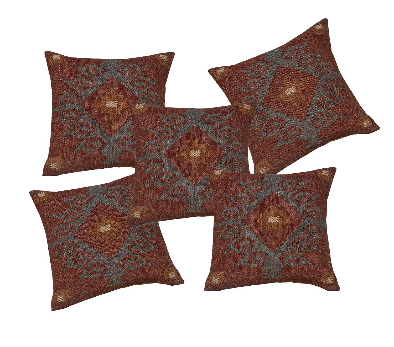 Handicraft Bazar 5 Fundas de cojín de Lana de Yute para Sala ...