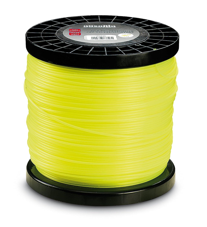 Ausonia - 83753 Bobina de hilo para desbrozadora marco cuadrado amarillo 3,3 mm, 2 Kg