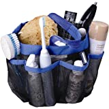 Attmu Mesh Shower Caddy, Quick Dry Shower Tote Bag Oxford Hanging Toiletry and Bath Organizer with 8 Storage Compartments for Shampoo, Conditioner, Soap and Other Bathroom Accessories, Blue