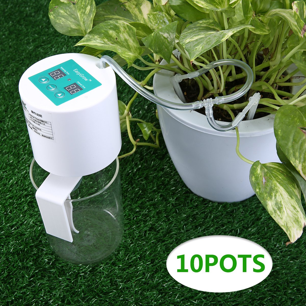 KINGSO 10M Drip Irrigation Kit Self Watering System with 15-Day Watering/Interval Time Setting for 10 Indoor Potted Plants Vacation Plant Garden Flowers Auto Watering
