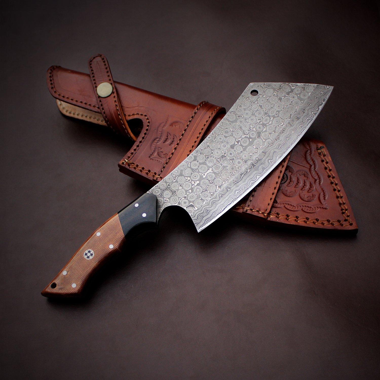 Handmade Damascus Steel Cleaver Chopper Knife Rain Drop Pattern 12 Inches VK0199