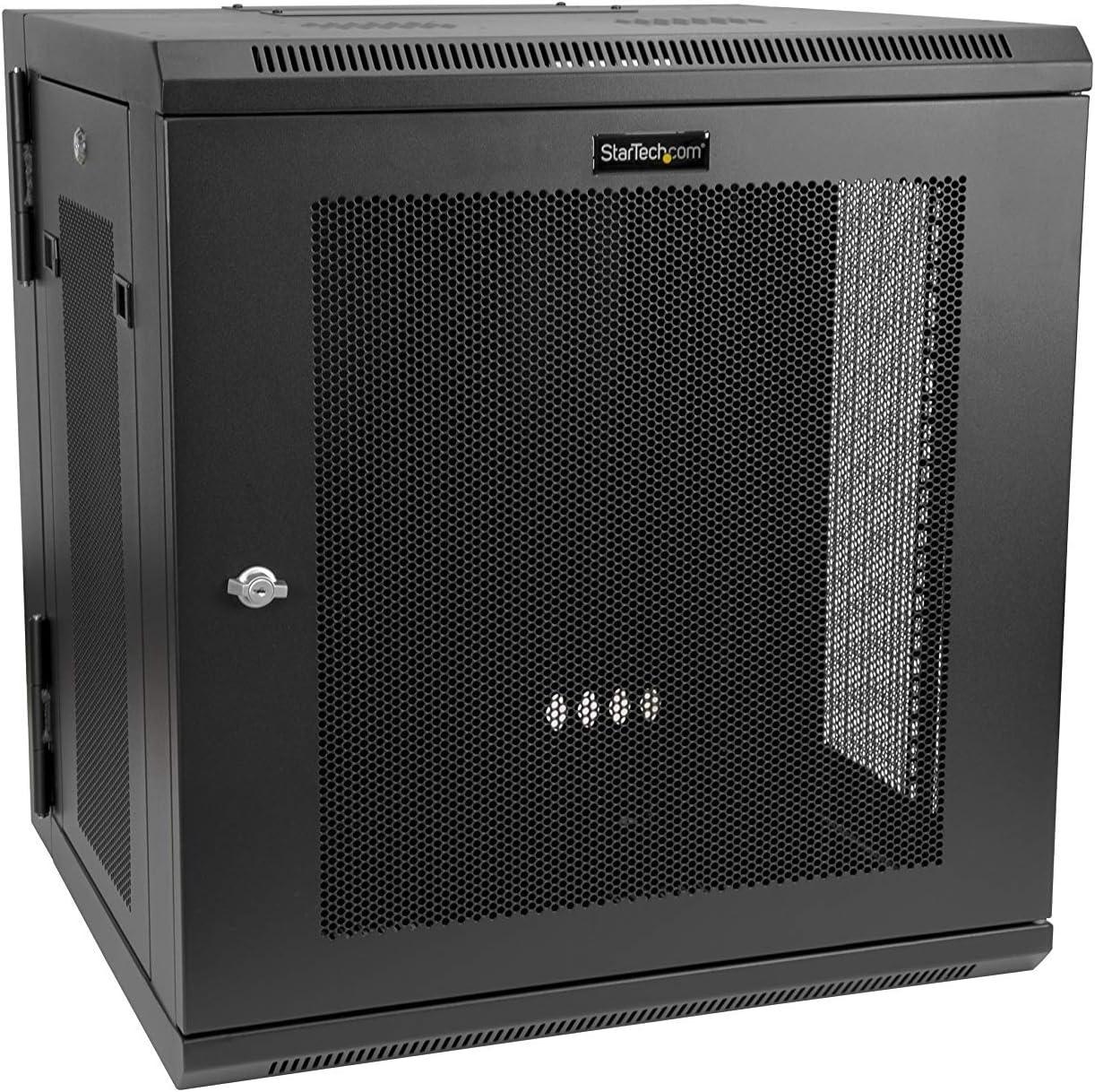 "StarTech.com 12U 19"" Wall Mount Network Cabinet - 16"" Deep Hinged Locking IT Network Switch Depth Enclosure - Vented Computer Equipment Data Rack w/Shelf & Flexible Side Panels - Assembled (RK12WALHM)"