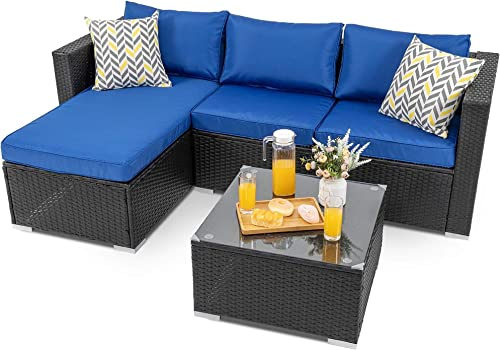 Walsunny Outdoor Furniture Patio Sets,Low Back All-Weather Small Rattan Sectional Sofa with Tea Table Washable Couch Cushions Upgrade Wicker Black Rattan 3-Piece Navy Blue