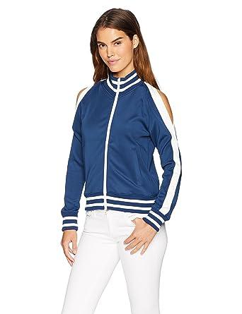 2dc59552dabf5 Amazon.com  Pam   Gela Women s Cold Shoulder Track Jacket  Clothing