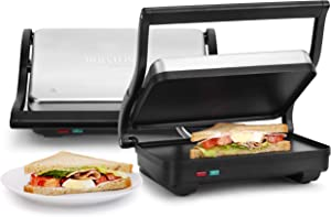 Holstein Housewares HH-0910601 2-Slice Panini Press Electric Griddle, Black