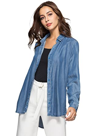 6d41b995d Escalier Women's Denim Shirt Chambray Tencel Long Sleeve Button Down Shirts  Oversize Blouse Blue S at Amazon Women's Clothing store:
