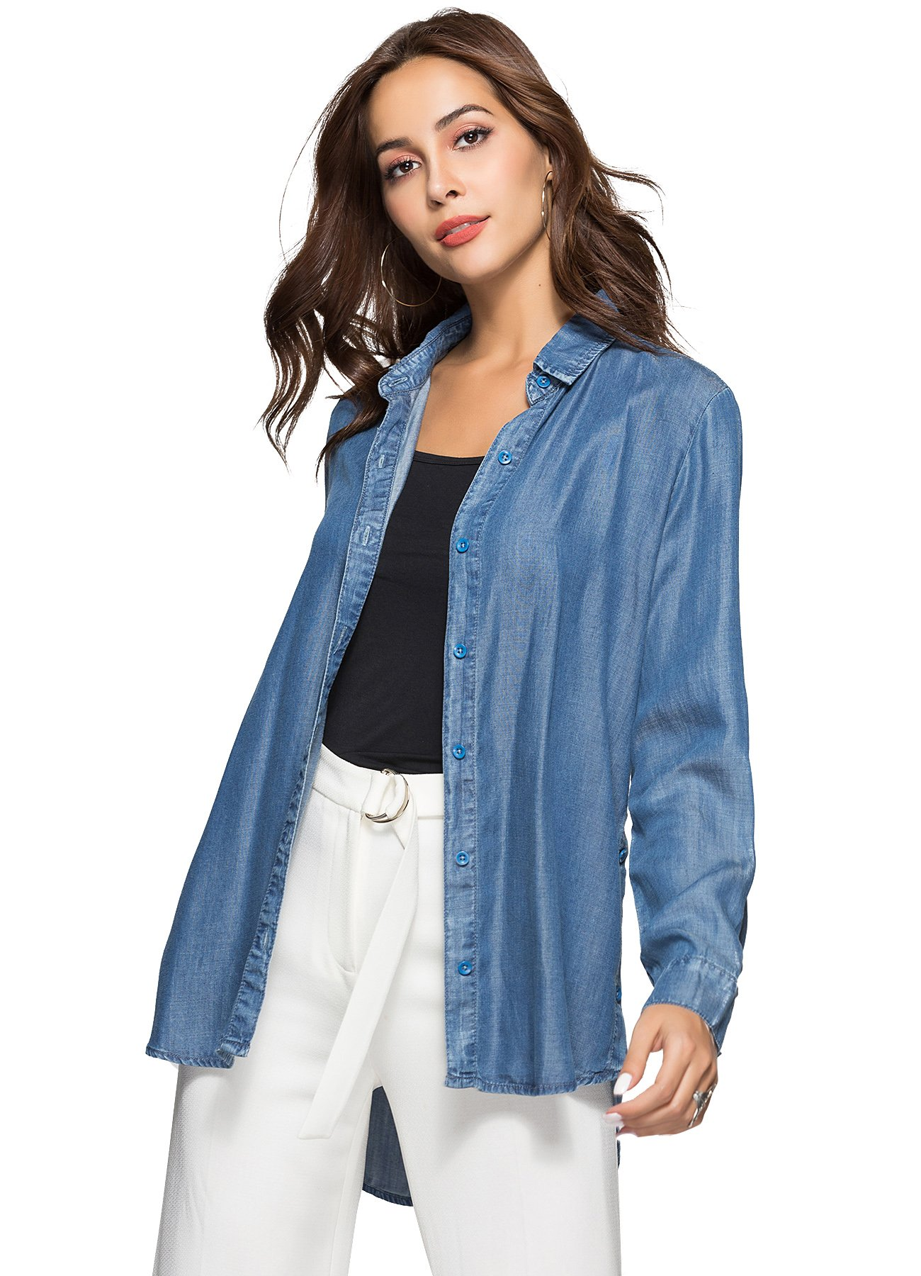 Escalier Women's Denim Shirt Chambray Tencel Long Sleeve Button Down Shirts Oversize Blouse Blue L