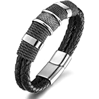 Zivom® Rope Leather 316L Surgical Stainless Steel Wrist Band Strap Bracelet Boys Men
