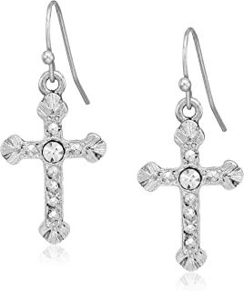 product image for 1928 jewelry silver tone crystal accent religious crucifix cross drop earrings