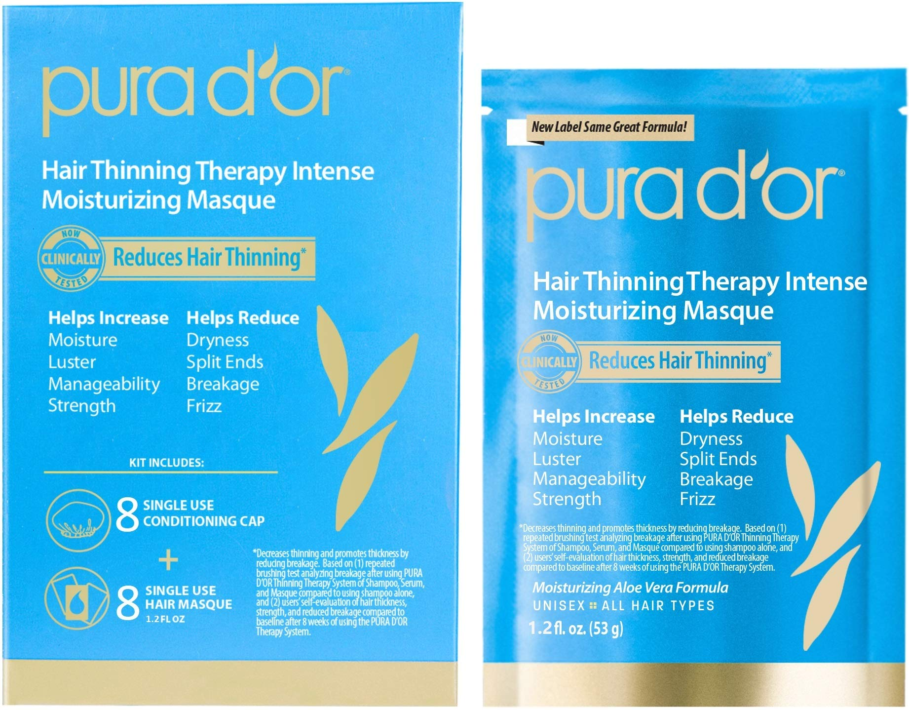 PURA D'OR Hair Thinning Therapy Intense Moisturizing Masque (8-Pack) Deeply Hydrating Treatment Mask, Infused with Natural Ingredients, For All Hair Types, Men & Women (Packaging may vary) by PURA D'OR