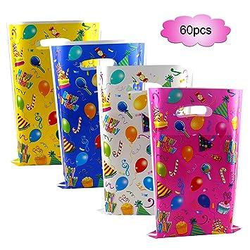 Howaf 60 Piezas Bolsas Regalo Cumpleaños, bolsas para chuches, Bolsas Plástico para Frutos Secos, Caramelos, Chocolate, piñata, idea de regalo fiestas ...