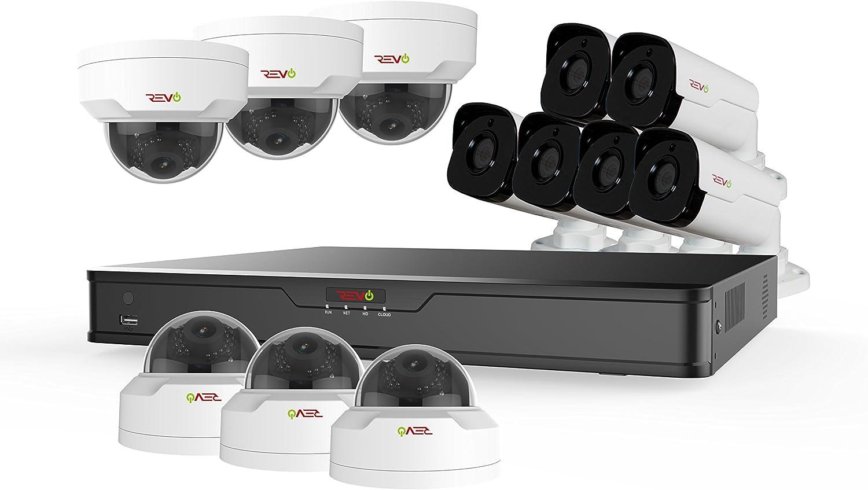 Revo America Ultra 16Ch. 4TB HDD 4K IP NVR Surveillance System – Fixed Lens 6 x 4MP IP Vandal Dome Cameras 6 x 4MP IP Bullet Cameras – Remote Access via Smart Phone, Tablet, PC MAC