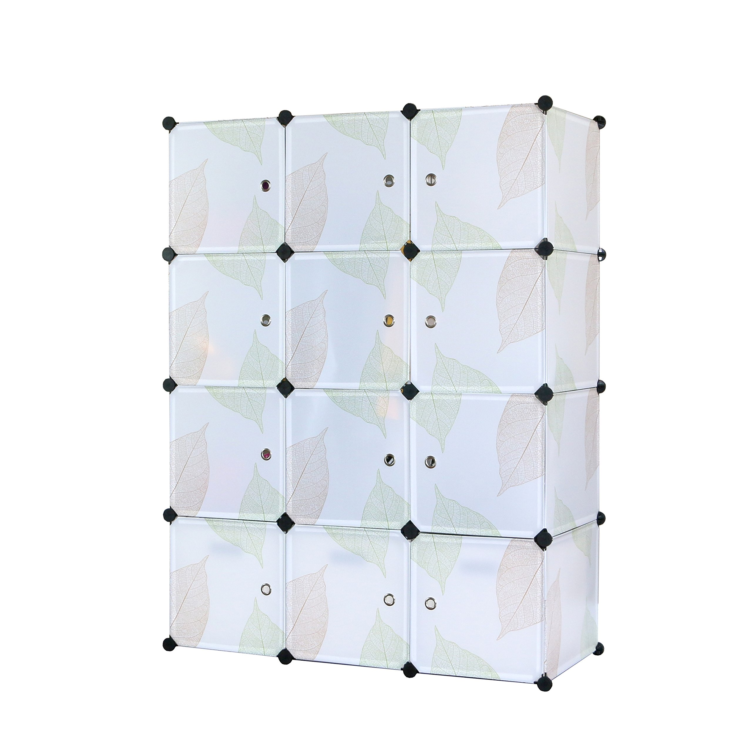 UNICOO - DIY 12 Cube Organizer, Bookcase, Toy Organizer, Storage Cabinet, Wardrobe Closet (Regular, Green Leaves) by UNICOO
