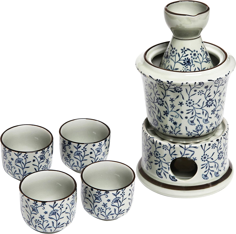 Serving Carafe /& Warmer Bowl Cups Exquisite Ceramic Blue Flowers Japanese Sake Set w// 4 Shot Glass