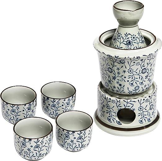 7-Piece Blue Floral Design Ceramic Hot Sake Set with Warmer 4 Cups Heating Pot