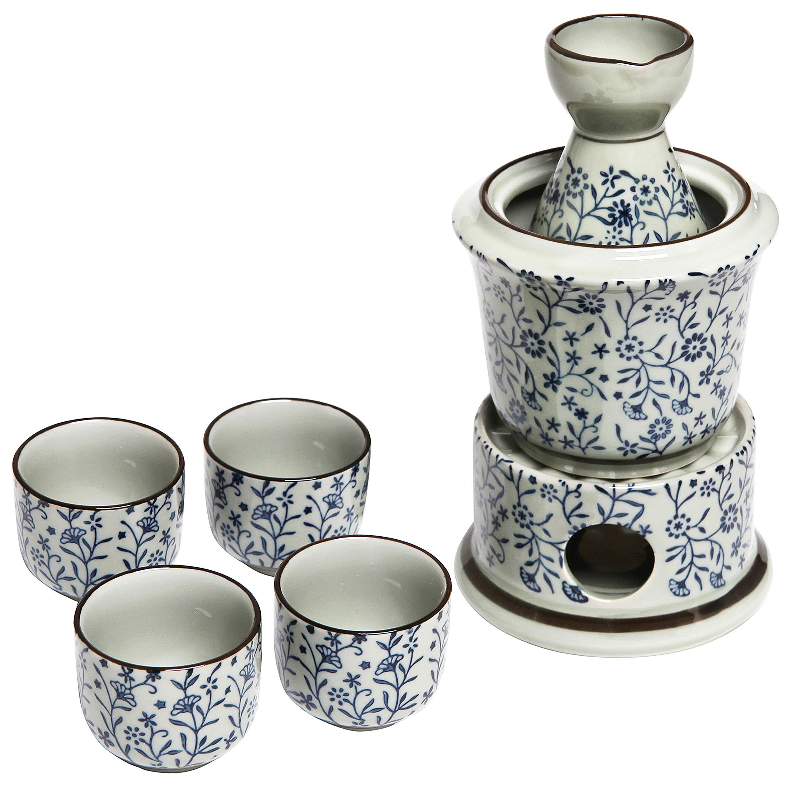 Exquisite Ceramic Blue Flowers Japanese Sake Set w/ 4 Shot Glass/Cups, Serving Carafe & Warmer Bowl by MyGift