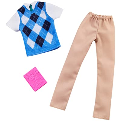 Barbie Clothes -- Career Outfits for Ken Doll, Science Teacher with Textbook, Multicolor: Toys & Games