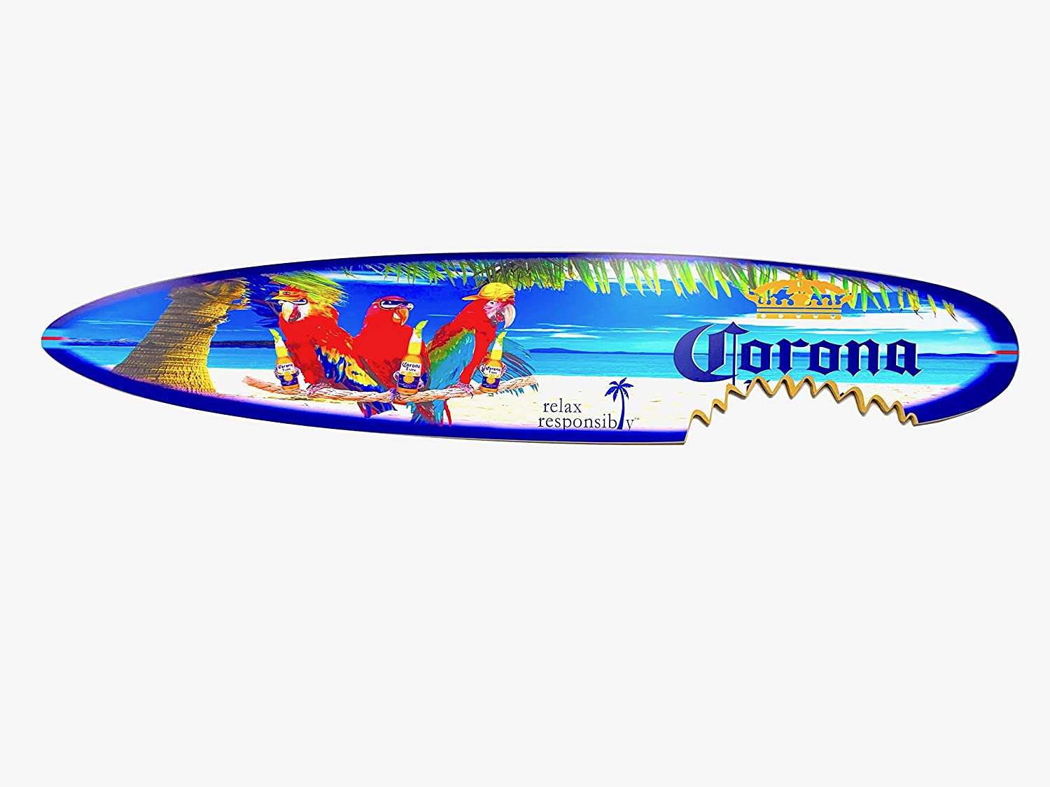Extra Large 6 Foot Corona Parrots On The Beach Surfboard Sign Decor