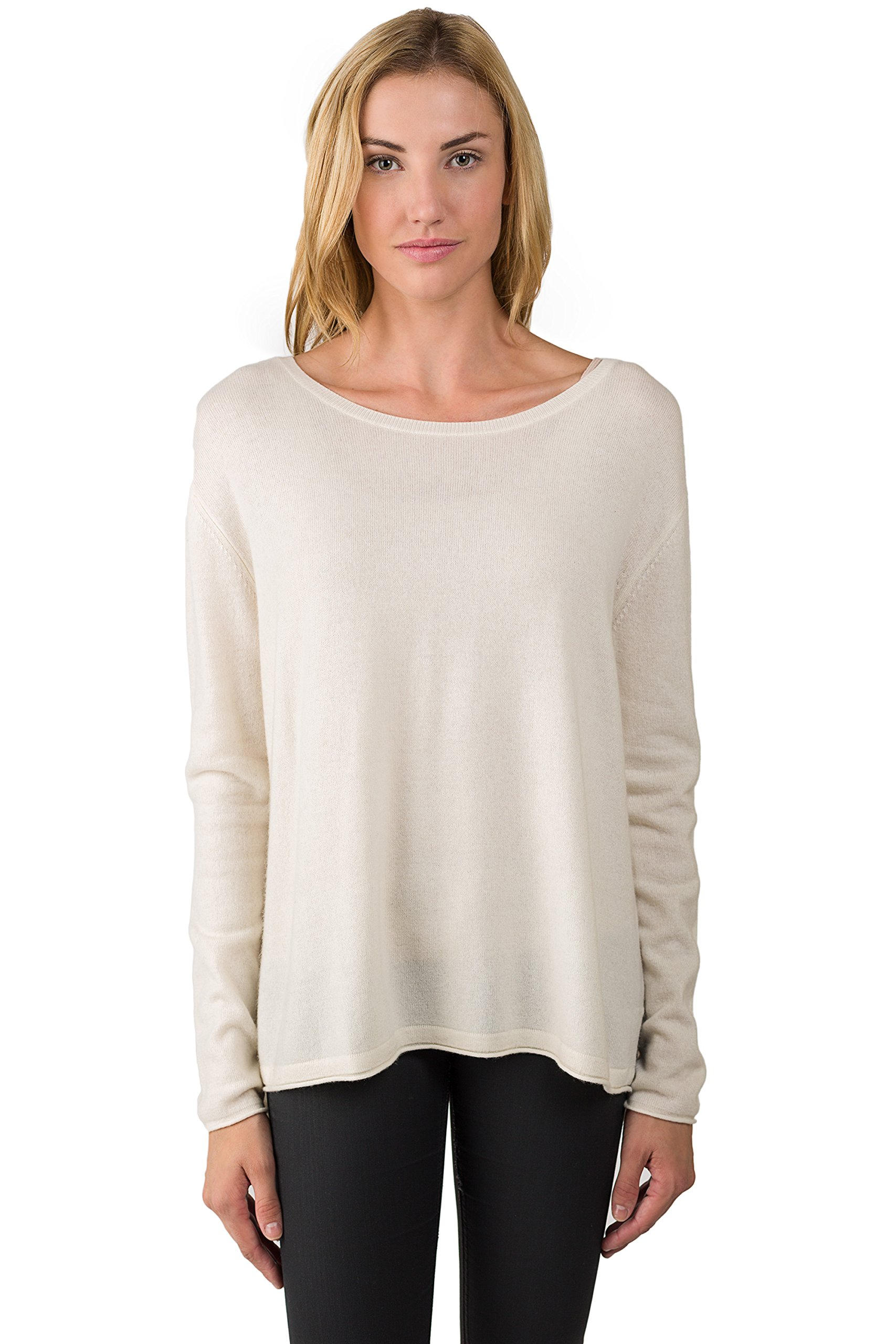 J CASHMERE Women's 100% Cashmere Long Sleeve Pullover High Low Crewneck Sweater Cream Small