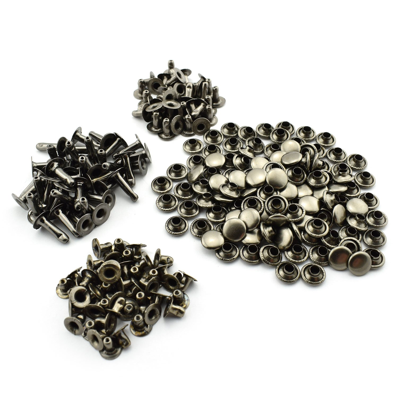 RUILING 120pcs 5/16' Black Rapid Rivets Assorted Kit Round Mushroom Decorative Rivets 8x6/8/12mm DIY Leather Craft Studs Set 3 Length 1/4' 5/8' 1/2'