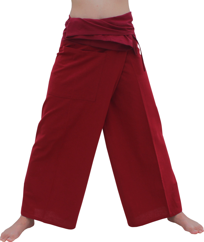 Raan Pah Muang Brand Light Summer Cotton Thai Plain Fisherman Wrap Pants Tall Cut, X-Large, Auburn Red by Raan Pah Muang