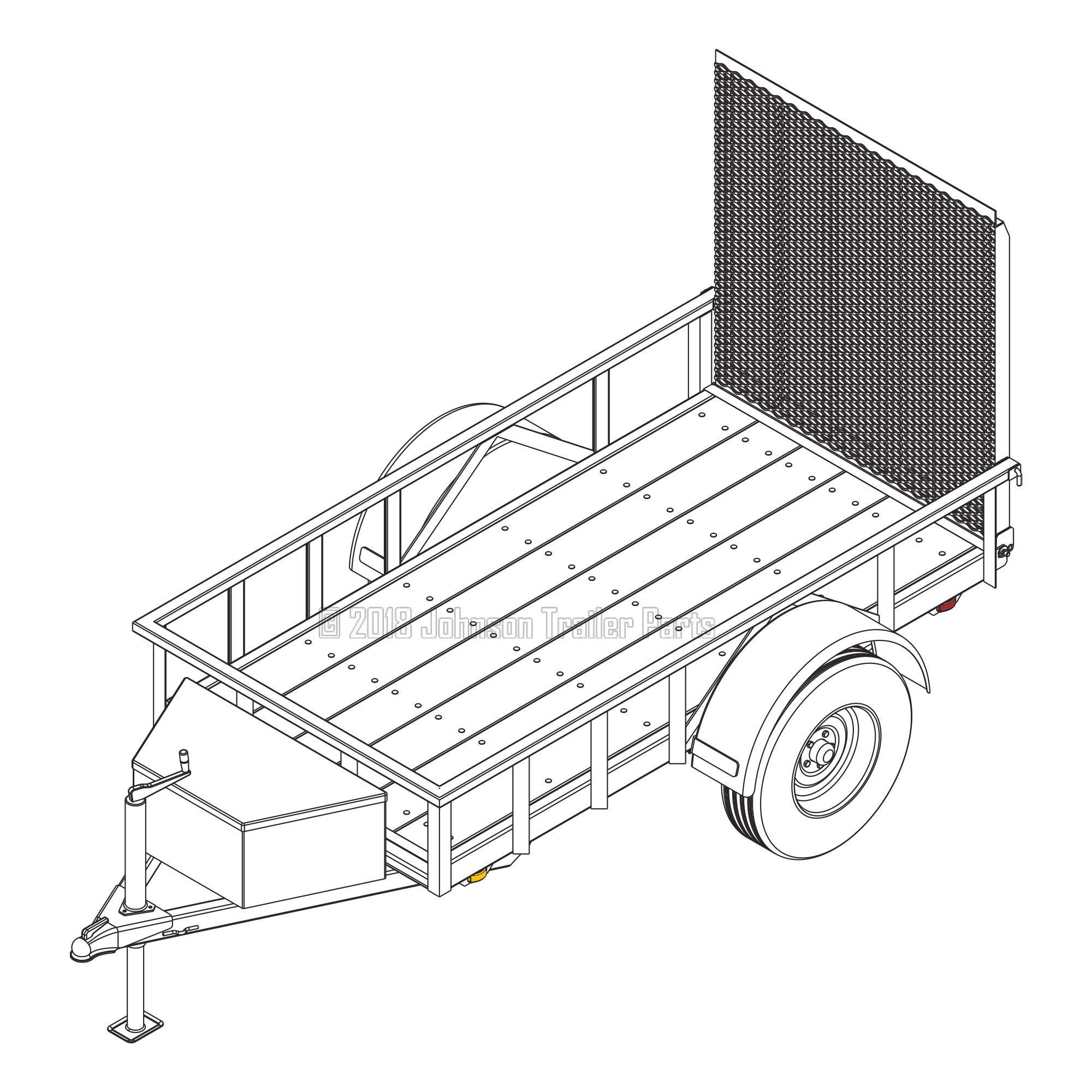 4′ x 8′ Utility Trailer Plans - 3,500 lb Capacity | Trailer Blueprints Model U49-96-35J by Johnson Trailer Parts