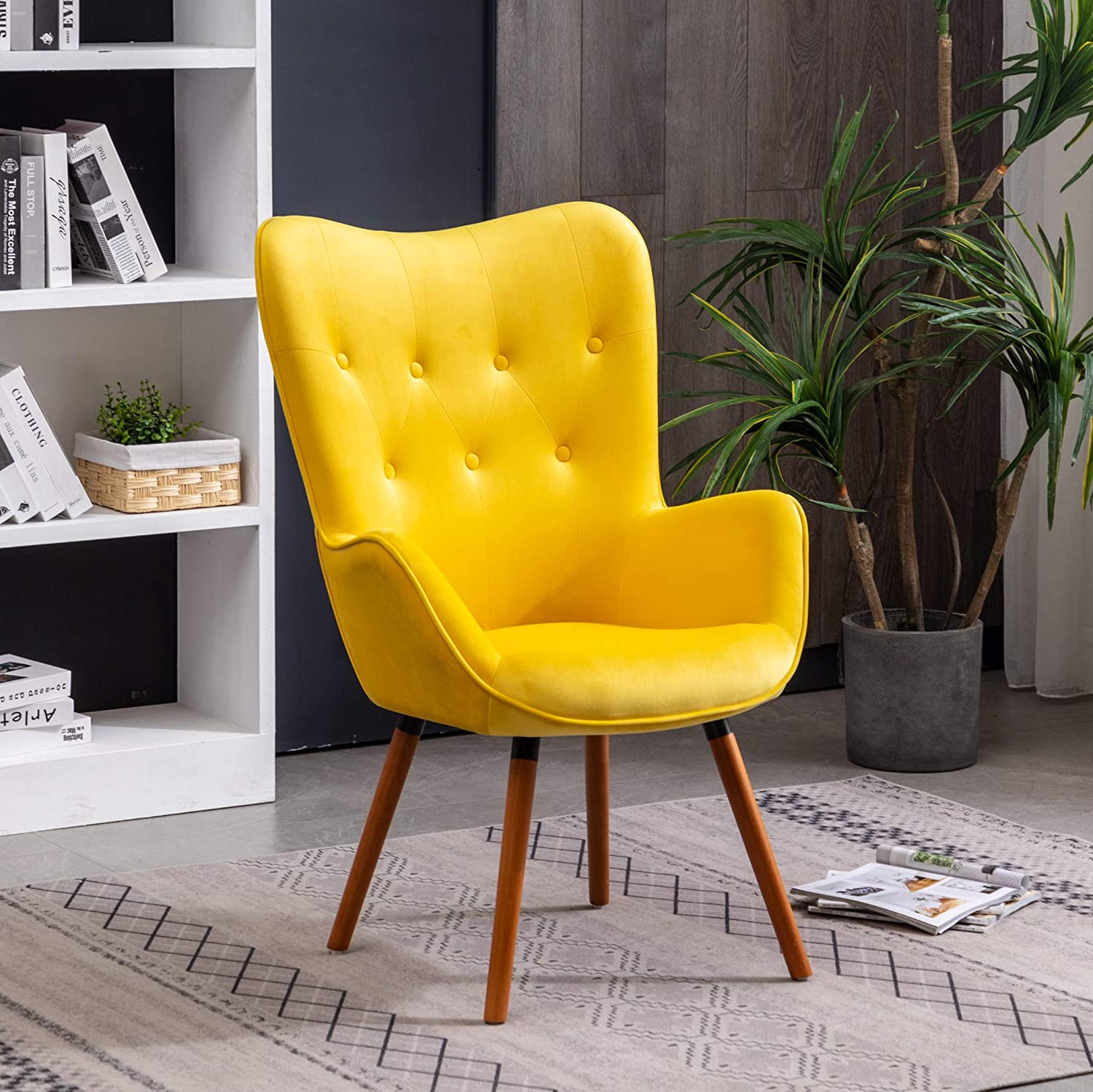 Roundhill Furniture Doarnin Silky Velvet Tufted Button Accent Chair, Yellow