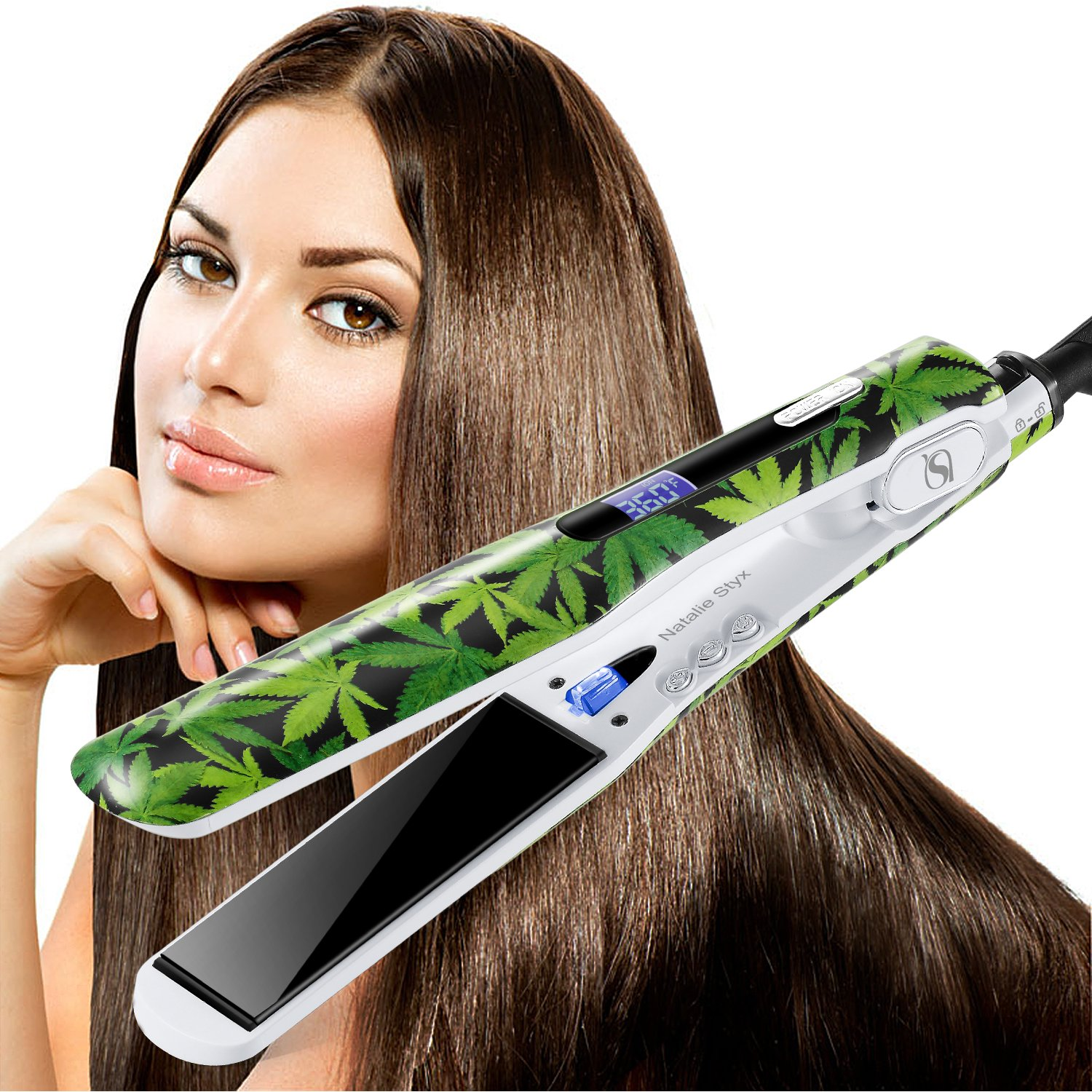 Natalie Styx Professional Tourmaline Ceramic Flat Iron Hair Straightener with LCD Display, High Heat 450F, Dual Voltage plus Travel Pouch, Glove,2 Clips Gift for Lovers - Green Leaves, 1.5 Inches