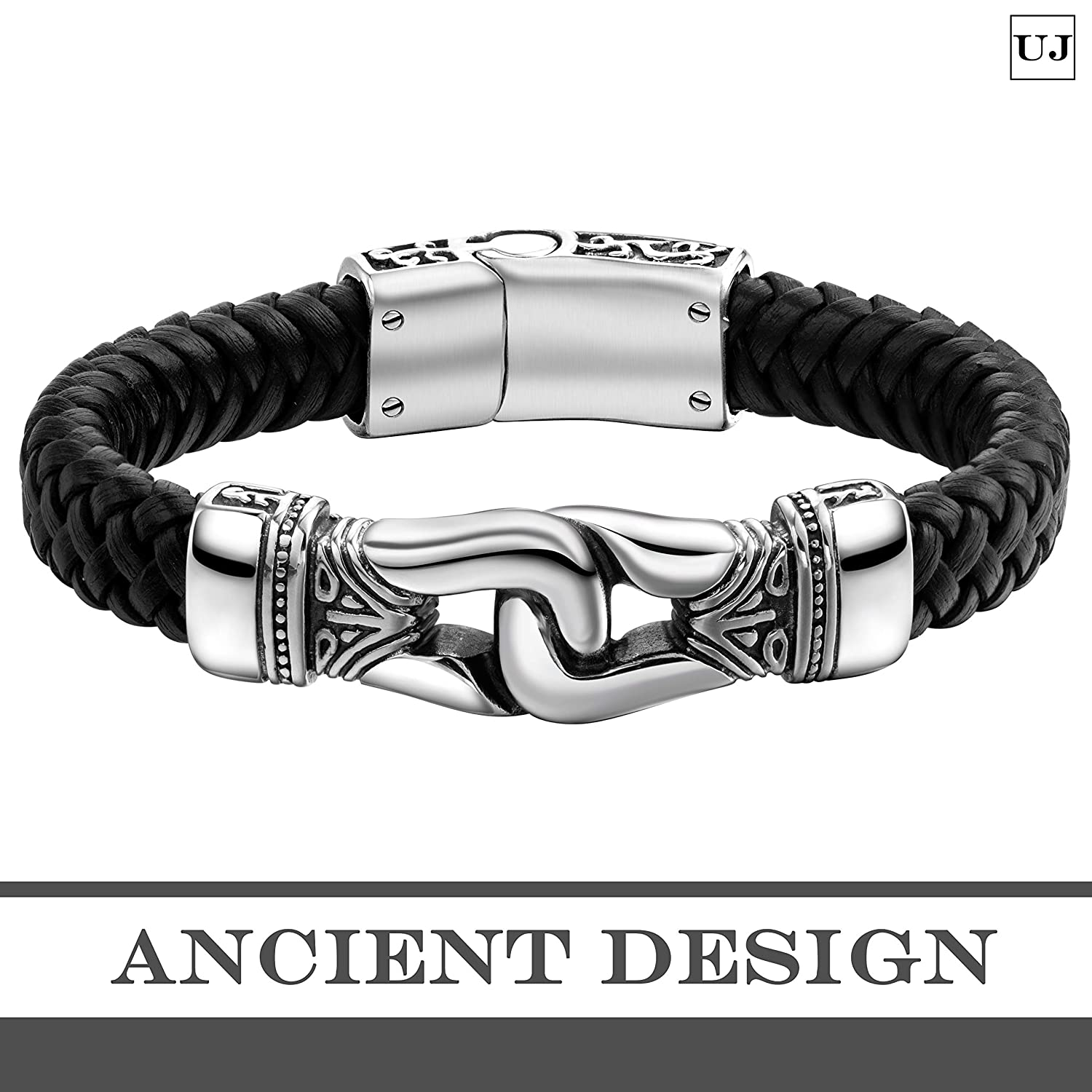 Urban Jewelry Mens Bracelet Made of Stainless Steel and Genuine Leather for Him Ancient Pattern Design in a Polished Silver Finish and Black Leather Rope Chain