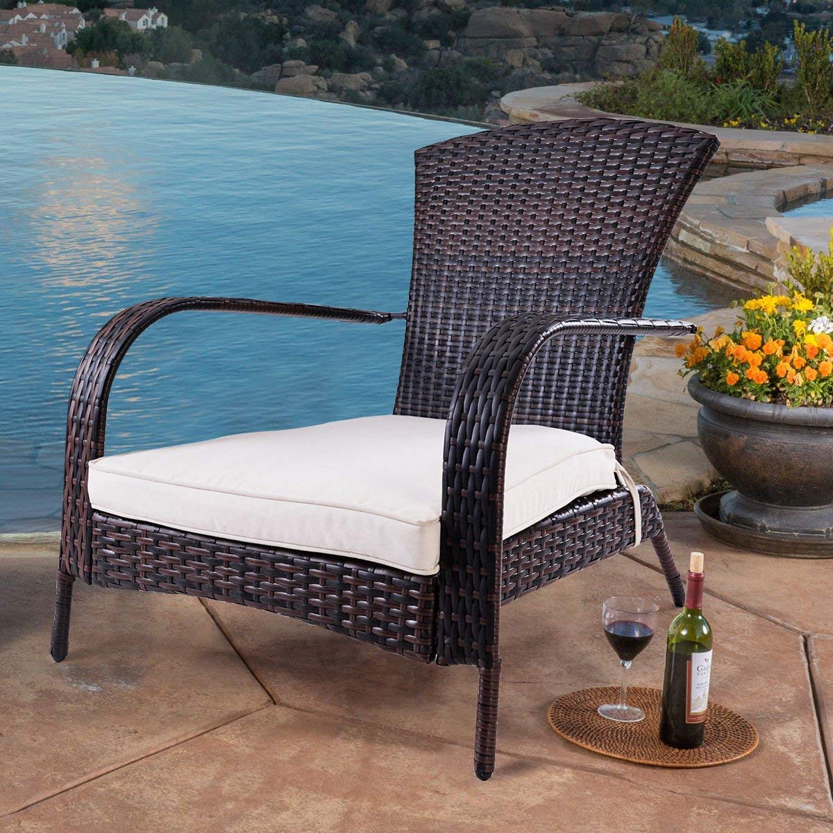 TANGKULA Wicker Adirondack Chair Outdoor Rattan Patio Porch Deck All Weather Furniture with Beige Seat Cushion Wicker Chair Lounger Chaise Small with Beige Cushion