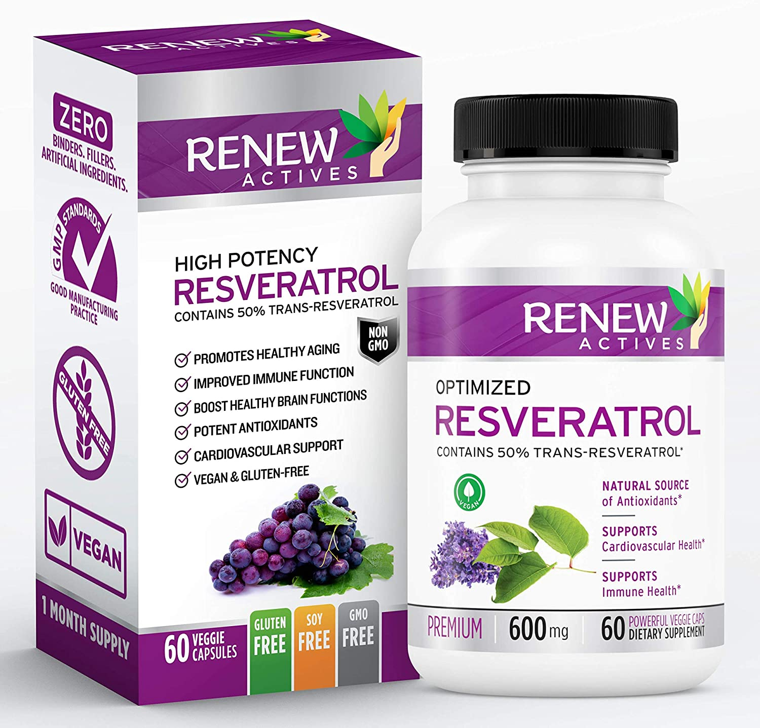 Amazon Com Renew Actives Optimized Resveratrol Supplement 600mg