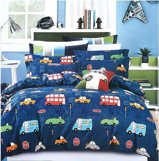 Amazon Com Adasmile A S Boys Bedding Set Queen Size Blue Cars