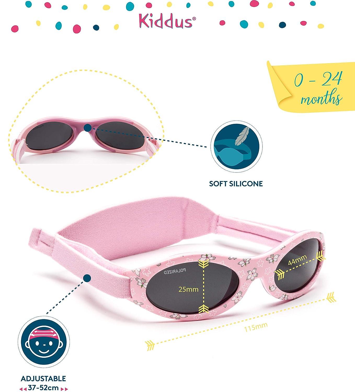 Kiddus Gafas de sol polarizadas PREMIUM bebés, para NIÑOS Y NIÑAS, de 0 meses a 2 años, 100% protección UV, MUY CÓMODAS, suave puente de SILICONA para ...